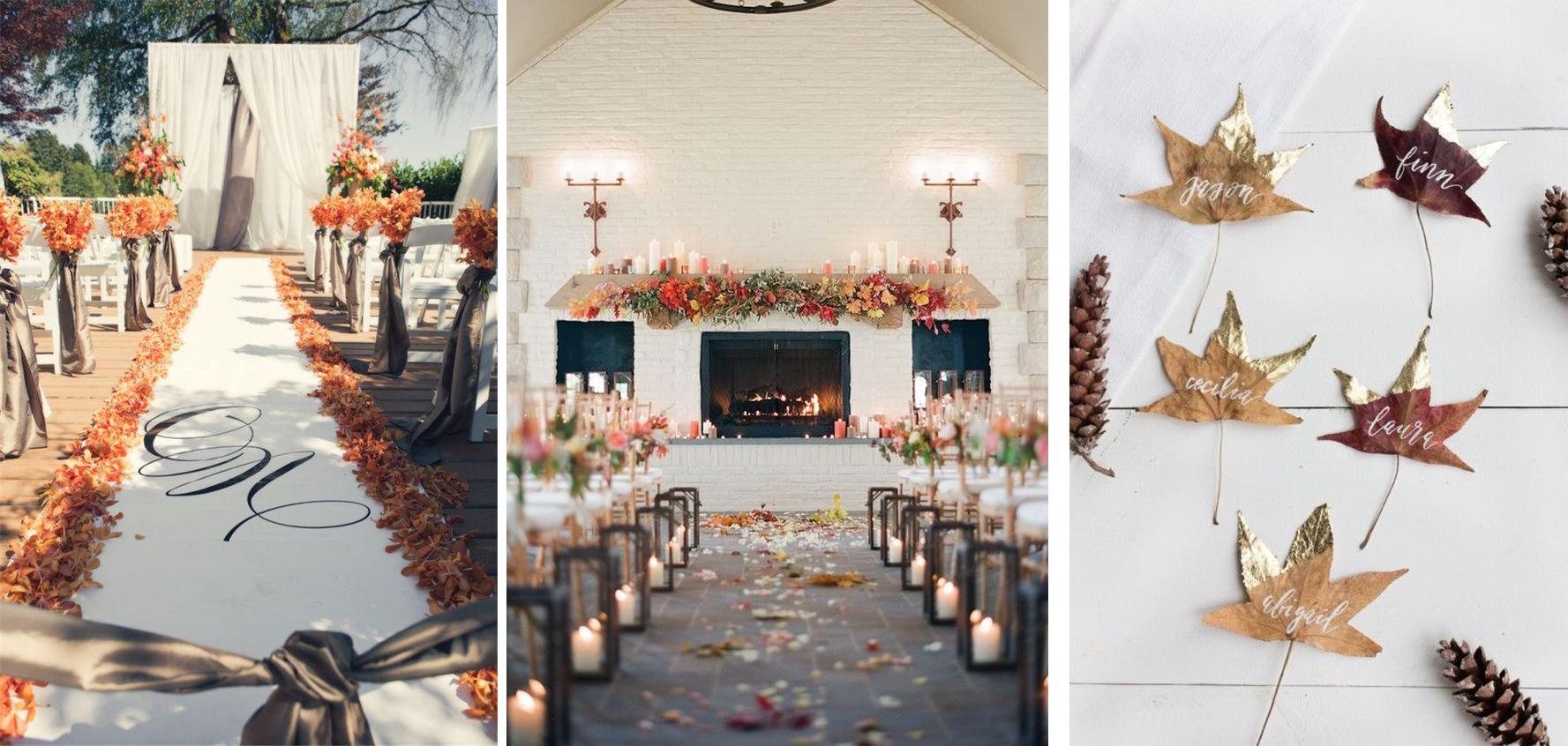 jesienny slub liscie w dekoracji