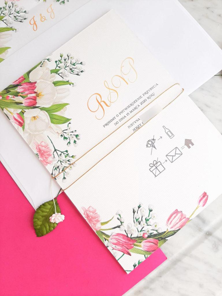 kwiatowe zaproszenia slubne tulipany