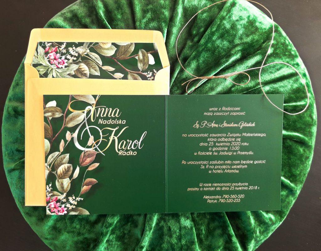 zielone zaproszenia slubne