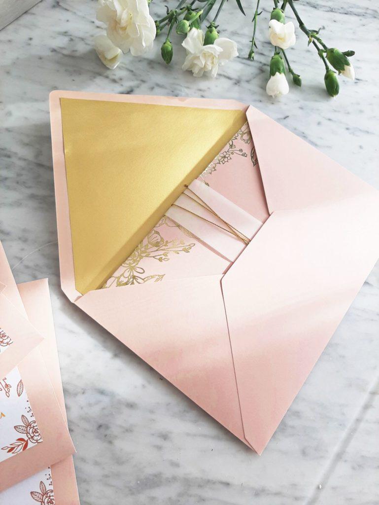 zaproszenia slubne glamour rozowe