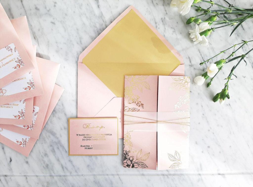zaproszenia slubne glamour zlote rozowe artirea