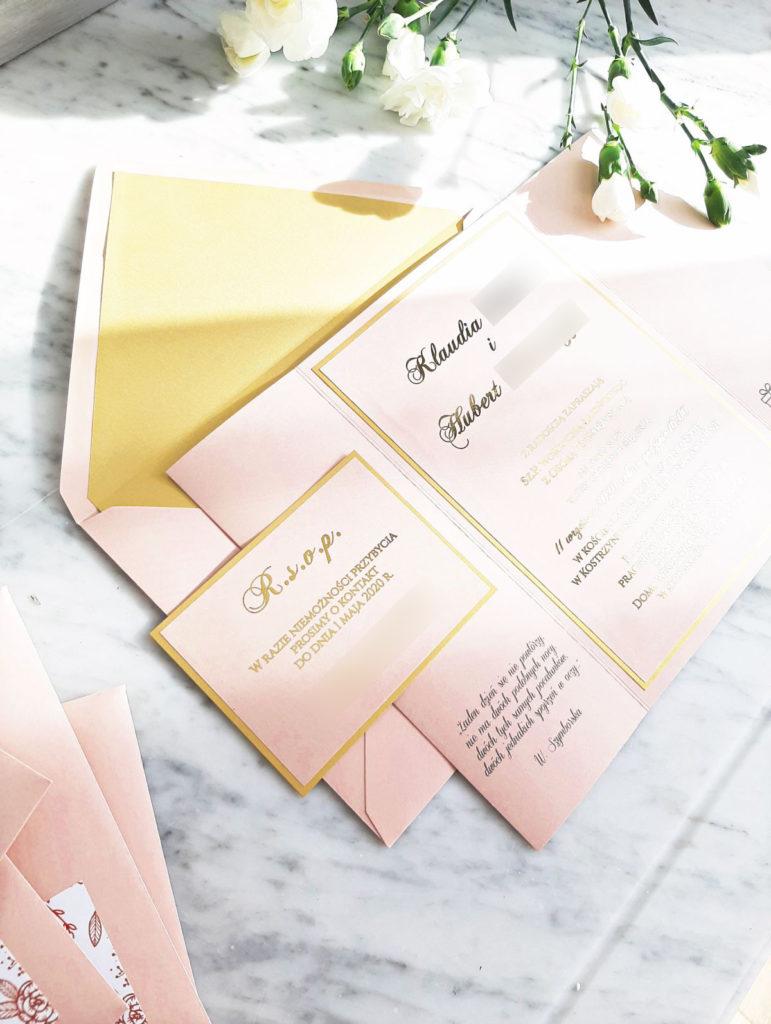 zaproszenia glamour rozowe pozlocone