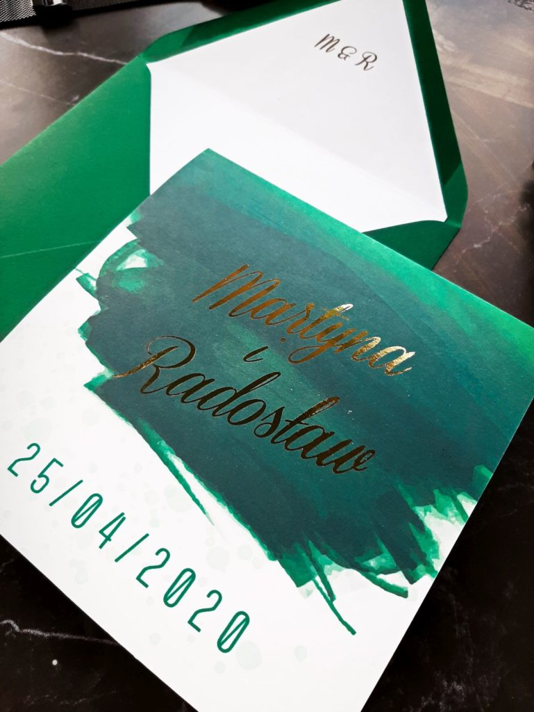 zielone zaproszenia slubne zaproszenia slubne zielen zloto zaproszenia szmaragdowe