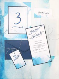 niebieskie zaproszenia slubne grnatowe zaproszenia na slub nowoczesne