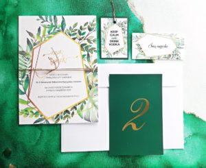 zielone zaproszenia slubne greenery