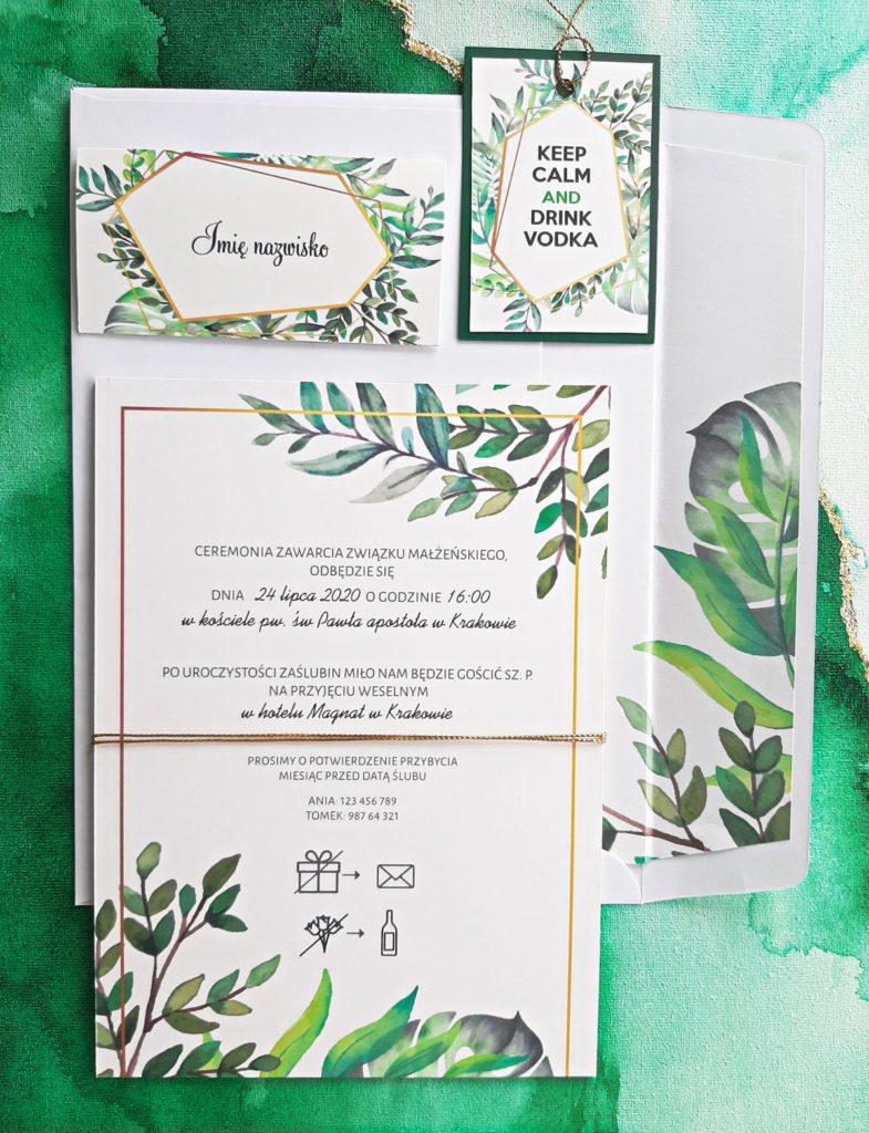 zielone zaproszenia slubne botaniczne greenery nowoczesne artirea
