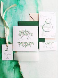 zielone botaniczne zaproszenia slubne greenery