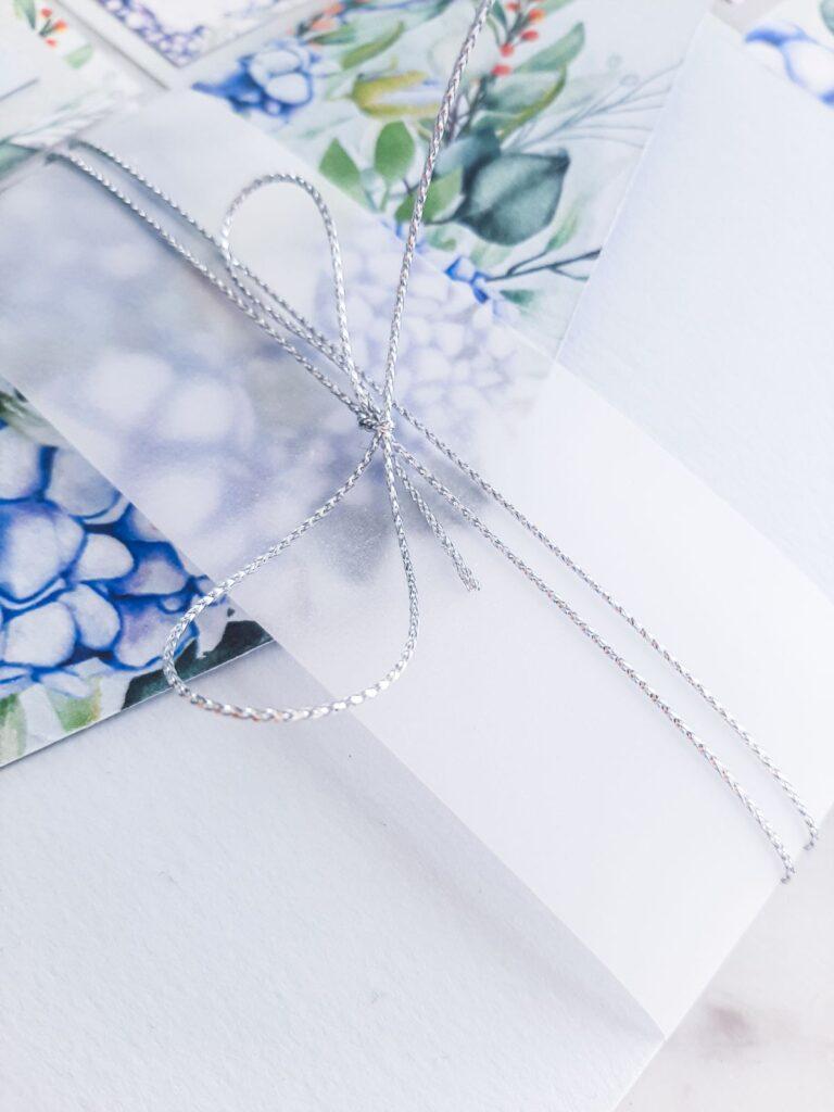 zaproszenie slubne hortensje niebieskie
