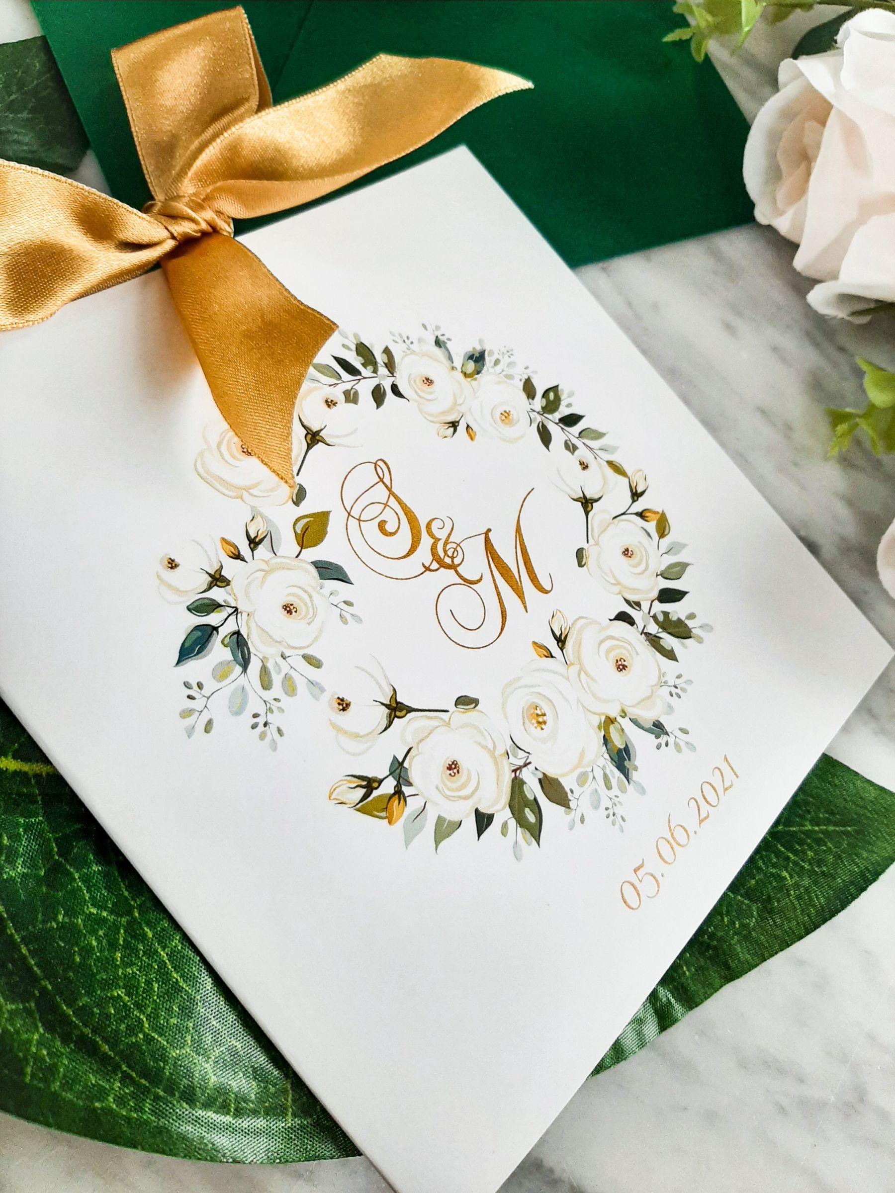 bialo zielone zaproszenia slubne zlote